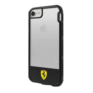 Ferrari Shockproof Hülle iPhone 7 / 8 / 9 / SE 2 Transparent / Schwarz FEHCP7BISBK