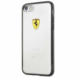 Ferrari iPhone SE 2020 / iPhone 8 / 7 Hülle Racing Shield Transparent / Schwarz FEHCP7BK