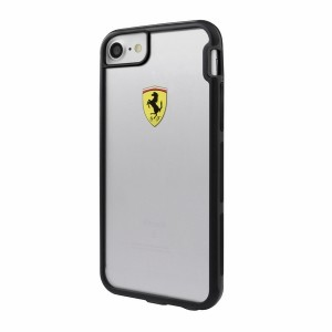 Ferrari Shockproof Hülle iPhone 7 / 8 / 9 / SE 2 Transparent / Schwarz FEHCP7TR3