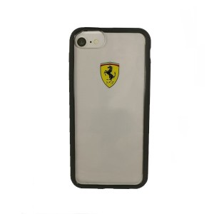 Ferrari Hülle iPhone SE 2020 / iPhone 8 / 7 Transparent / Schwarz FEHCRFP7BK