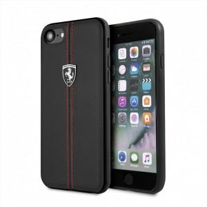 Ferrari Vertical Stripe Lederhülle FEHDEHCI8BK iPhone 8 / 7 Schwarz