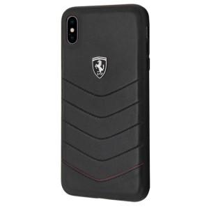 Ferrari Heritage Lederhülle FEHQUHCI65BK iPhone Xs Max Schwarz