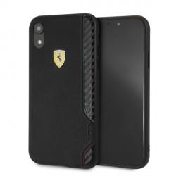 Ferrari On Track Carbon / PU Lederhülle FESITHCI61BK iPhone Xr Schwarz
