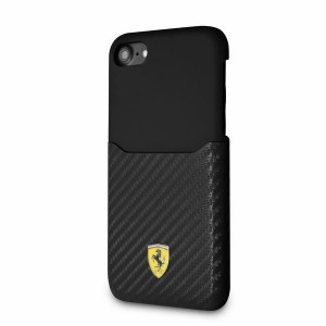 Ferrari PU Carbon Hülle FESPAHCP7BK iPhone 8 / 7 Schwarz