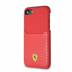 Ferrari iPhone SE 2020 / iPhone 8 / 7 PU Carbon Hülle Rot FESPAHCP7RE