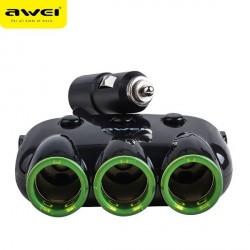AWEI Autoadapter C-3S 3 Steckdosen + 2 USB schwarz