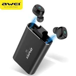AWEI Bluetooth 5.0 T85 TWS Kopfhörer + Ladestation / Powerbank 1800mAh schwarz