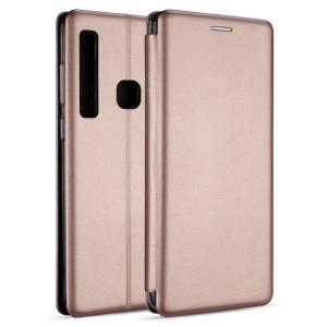 Premium Slim Magnetic Tasche Huawei Y7 2019 Aufstellfunktion + Kartenfach rose gold