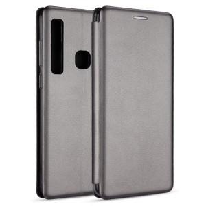 Premium Slim Magnetic Tasche Samsung A20e A202 Aufstellfunktion + Kartenfach grau