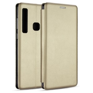 Premium Slim Magnetic Tasche Samsung A30 Aufstellfunktion + Kartenfach gold