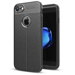 Silikon Hülle / Case iPhone SE 2020 / iPhone 8 / 7 Grain Leder schwarz