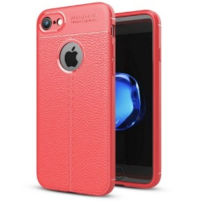 Silikon Hülle / Case iPhone SE 2020 / iPhone 8 / 7 Grain Leder rot