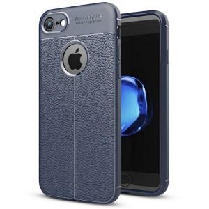 Silikon Hülle / Case iPhone SE 2020 / iPhone 8 / 7 Grain Leder blau