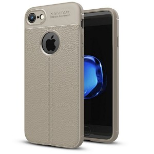 Silikon Hülle / Case iPhone SE 2020 / iPhone 8 / 7 Grain Leder grau