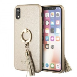 Guess Saffiano Ring Hülle GUHCI61RSSABE iPhone Xr Gold