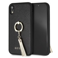 Guess Saffiano Ring Hülle GUHCI61RSSABK iPhone Xr Schwarz