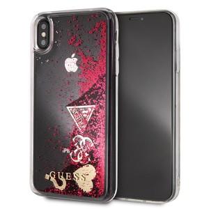 Guess Glitter Hearts Hülle GUHCI65GLHFLRA iPhone Xs Max Pink