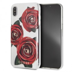Guess Flower Desire red roses Hülle GUHCI65ROSTR iPhone Xs Max transparent