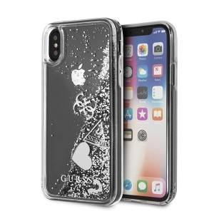 Guess Glitter Hearts Hülle GUHCPXGLHFLSI iPhone X / Xs Silber / Transparent