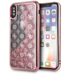 Guess 4G Peony Liquid Glitter Hülle GUHCPXPEOLGPI iPhone X / Xs Rose / Pink