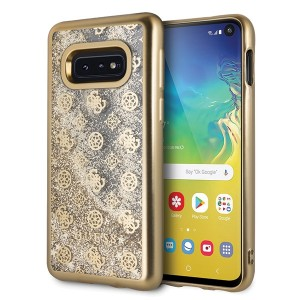 Guess 4G Peony Liquid Glitter Hülle GUHCS10LPEOLGGO Samsung Galaxy S10e Transparent / Gold