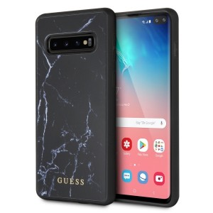 Guess Marble Hülle GUHCS10PHYMABK Samsung Galaxy S10+ Plus Schwarz