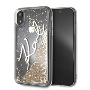 Karl Lagerfeld Signature Liquid Glitter Hülle KLHCI61SGGO iPhone Xr Transparent / Gold
