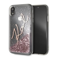 Karl Lagerfeld Signature Liquid Glitter Hülle KLHCI61SGPI iPhone Xr Transparent / pink gold