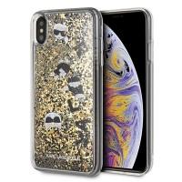 Karl Lagerfeld Glitter Hülle KLHCI65ROGO iPhone Xs Max Schwarz / Gold