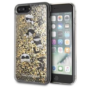 Karl Lagerfeld Glitter Hülle KLHCI8LROGO iPhone 8 Plus / 7 Plus schwarz / gold