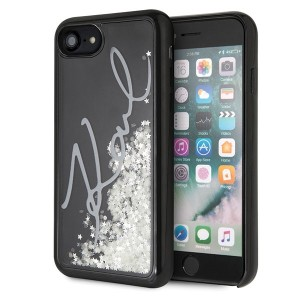 Karl Lagerfeld Glitter Signature Glow in the dark Hülle KLHCI8PH2IR iPhone 8 / 7 Schwarz