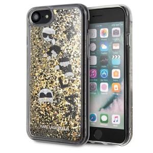 Karl Lagerfeld Glitter Hülle KLHCI8ROGO iPhone 8 / 7 Schwarz / Gold