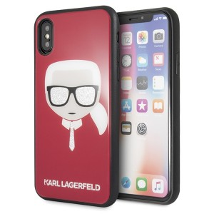 Karl Lagerfeld Iconic Glitter Karl`s Head Hülle KLHCPXDLHRE iPhone X / Xs Rot