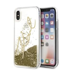 Karl Lagerfeld Signature Liquid Glitter Hülle KLHCPXSGGO iPhone X / Xs gold
