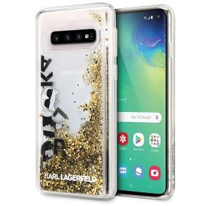 Karl Lagerfeld Glitter Hülle KLHCS10ROGO Samsung Galaxy S10 schwarz / gold