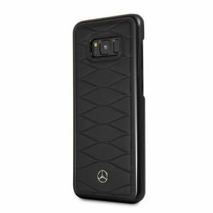 Mercedes Benz Pattern Lederhülle MEHCS8LWHCLBK Samsung Galaxy S8+ Plus Schwarz
