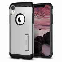 Spigen Slim Armor Hülle iPhone Xr satin silver mit Kickstand