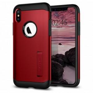 Spigen Slim Armor Hülle iPhone Xs Max red mit Kickstand