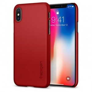 Spigen Thin Fit Hülle iPhone Xs / X Rot Metalic