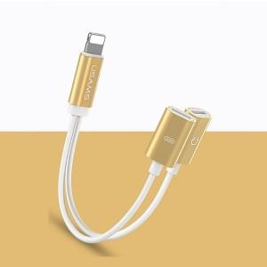 USAMS Adapter 2w1 Lightning gold SJ1602L02 US-SJ160