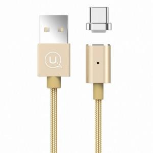 USAMS Magnetkabel U-Link USB-C 1,2 m 2A Gold geflochten TCLD02 US-SJ143 Schnellladung