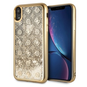 Guess 4G Peony Liquid Glitter Hülle iPhone Xr gold