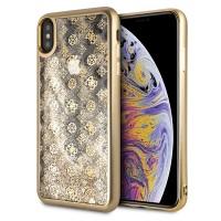 Guess 4G Peony Liquid Glitter Hülle iPhone Xs Max Gold