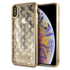 Guess 4G Peony Liquid Glitter Hülle iPhone Xs Max Gold