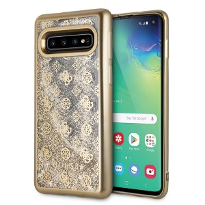 Guess Glitter 4G Peony Hülle GUHCS10PEOLGGO Samsung Galaxy S10 Transparent / Gold