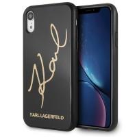 Karl Lagerfeld Signature Glitter Hülle KLHCI61DLKSBK iPhone Xr schwarz