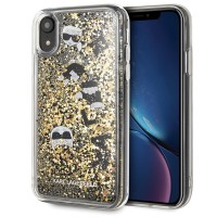 Karl Lagerfeld Glitter Hülle KLHCI61ROGO iPhone Xr Transparent / Gold