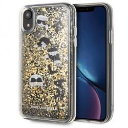 Karl Lagerfeld Glitter Hülle KLHCI61ROGO iPhone Xr Transparent / Gold