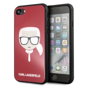 Karl Lagerfeld Iconic Glitter Karl`s Head Hülle KLHCI8DLHRE iPhone 8 / 7 Rot