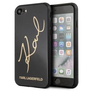 Karl Lagerfeld Signature Glitter Hülle iPhone 7 / 8 / 9 / SE 2 Schwarz KLHCI8DLKSBK
